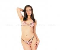 Полупрозрачный розовый комплект белья с узором SM