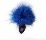 Деревянная анальная втулка с голубым хвостиком в подарочной упаковке
