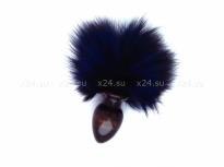 Деревянная анальная втулка с синим хвостиком в подарочной упаковке