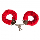 Металлические наручники с ярко-красным мехом