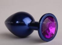 Средняя металлическая синяя пробочка с фиолетовым кристаллом