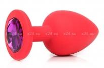 Малая красная силиконовая пробка с фиолетовым кристаллом