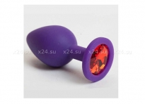 Средняя фиолетовая силиконовая пробка с красным кристаллом