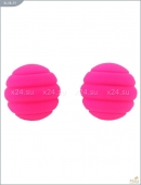 Металлические шарики со спиральным розовым силиконовым покрытием MAIA SILICON BALL SB2