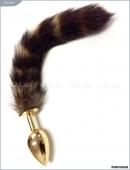 Анальная малая золотистая пробка с полосатым хвостом