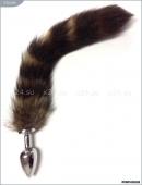 Анальная малая серебристая пробка с полосатым хвостом