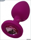 Маленькая фиолетовая пробка с нежно-розовым кристаллом