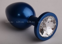 Средняя металлическая синяя пробочка с белым кристаллом