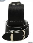 Черно-белые наручники из натуральной кожи