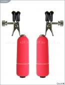 Зажимы для груди красные регулируемые с вибрацией из серии OUCH!