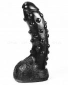 Черный фаллос с мошонкой и пупырышками Dark Crystal Tonguebiter