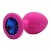 Средняя розовая силиконовая пробка с синим кристаллом