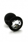Средняя черная силиконовая пробочка с прозрачным кристаллом