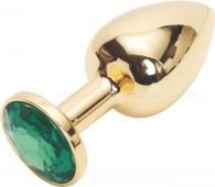 Малая золотая металлическая пробка с зеленым кристаллом