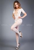 Белый боди-комбинезон с коротким рукавом и имитацией шнуровки