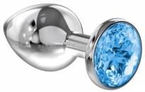 Большая серебряная металлическая пробка с голубым кристаллом