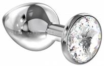 Большая серебряная металлическая пробка с прозрачным кристаллом