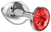 Большая серебряная металлическая пробка с рубиновым кристаллом