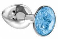 Малая серебряная металлическая пробка с голубым кристаллом