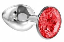 Малая серебряная металлическая пробка с рубиновым кристаллом