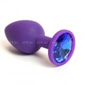 Малая фиолетовая силиконовая пробка с синим кристаллом