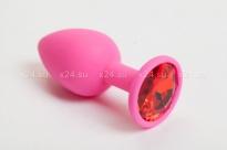 Малая розовая силиконовая пробка с красным кристаллом