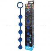 Синяя анальная цепочка с металлическими шариками Sweet toys 25 см