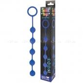 Синяя анальная цепочка с металлическими шариками Sweet toys 23 см
