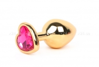 Cредняя золотая пробка с малиновым кристаллом в виде сердца Jewelry Plugs Anal