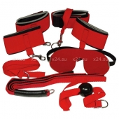 Красный набор для бондажа Bad Kitty (5 предметов)