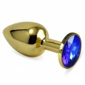 Малая золотая пробочка с синим кристаллом