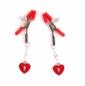 Зажимы на соски с подвесками в виде красных сердец