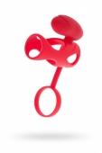 Стимулирующая насадка на пенис с клиторальным стимулятором и кольцом для мошонки Vibrating Cage Red