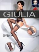 Чулки черные с блестящим узором перышка Giulia SPARK 02 (20 Den) 1/2