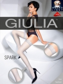 Чулки белые с блестящим узором перышка Giulia SPARK 02 (20 Den) 3/4