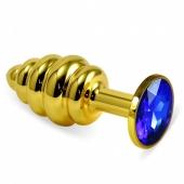 Малая золотая рельефная пробочка с синим кристаллом