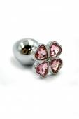 Маленькая пробочка с тупым кончиком с кристаллом в форме розового четырехлистного клевера
