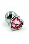 Маленькая пробочка с тупым кончиком с кристаллом в форме розового сердечка