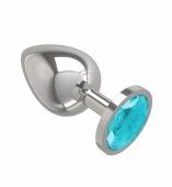Большая серебряная пробочка с голубым круглым кристаллом