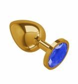 Большая золотая пробочка с синим круглым кристаллом