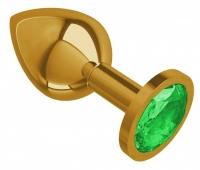 Средняя золотая пробочка с изумрудным круглым кристаллом