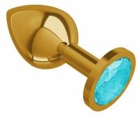 Средняя золотая пробочка с голубым круглым кристаллом