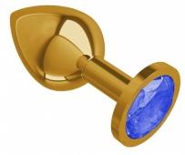 Средняя золотая пробочка с синим круглым кристаллом
