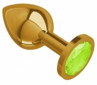 Средняя золотая пробочка с лаймовым круглым кристаллом