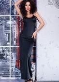 Длинное черное платье с открытой спиной и кружевной вставкой M