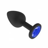 Маленькая черная пробочка из силикона с синим кристаллом