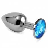 Небольшая серебряная анальная пробочка с голубым кристаллом