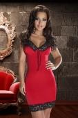 Красная сорочка с роскошным черно-золотым кружевом Natasha Dress LXL