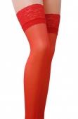 Красные чулочки с широкой кружевной резинкой на силиконе Passion (17 den, 1/2 размер)
