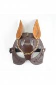 Кожаная маска кошки с золотистым украшением Harness Cat Mask